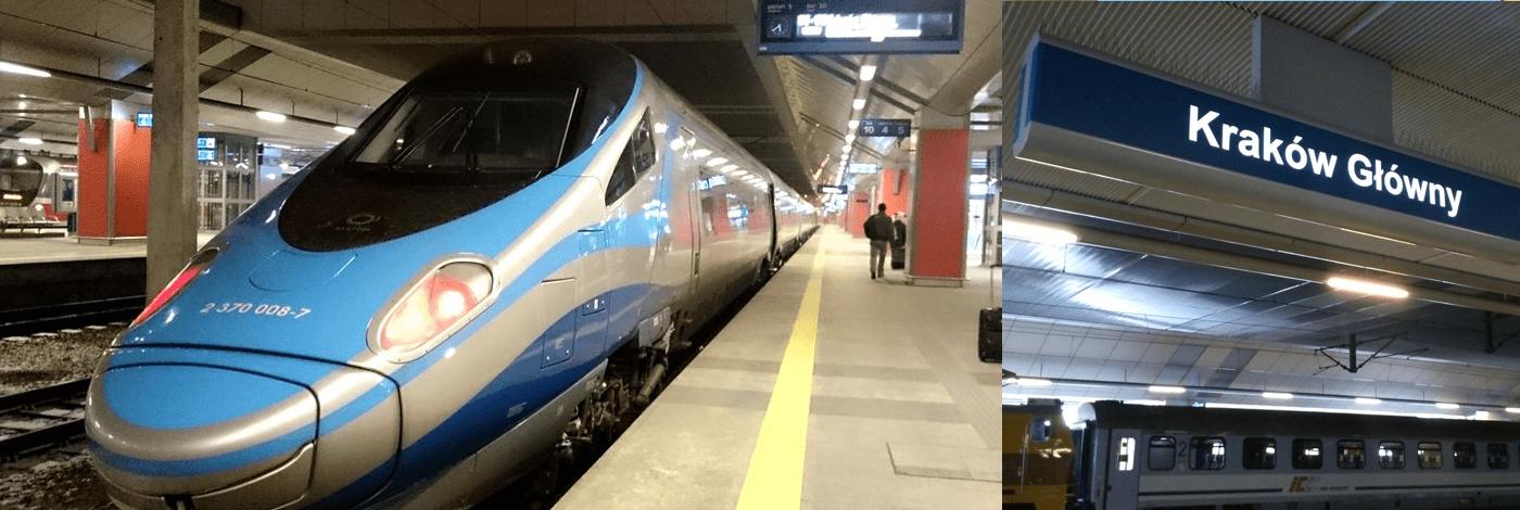Tåg mellan Warszawa och Krakow.