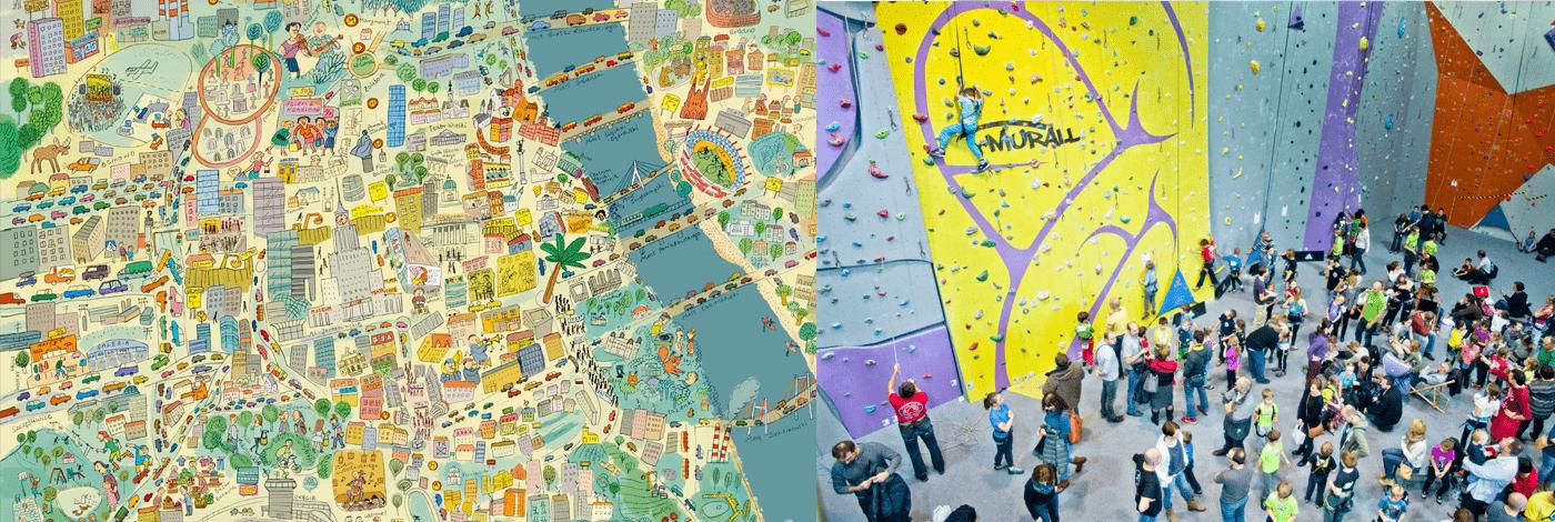Karta över warszawa för barn och en klättervägg.