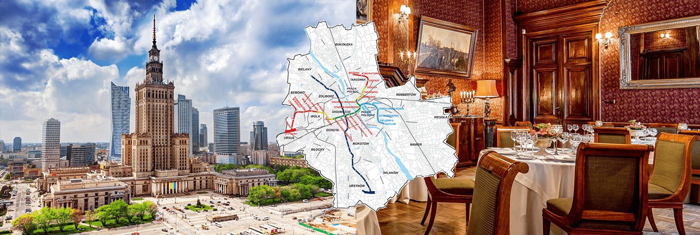 Kulturpalatset, karta över tunnelbanan och en resturang i Warszawa.